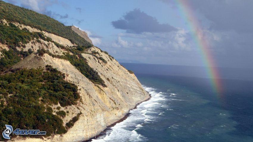 mar, arco iris, acantilados costeros