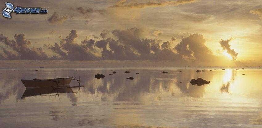 mar, barco, atardecer, nubes