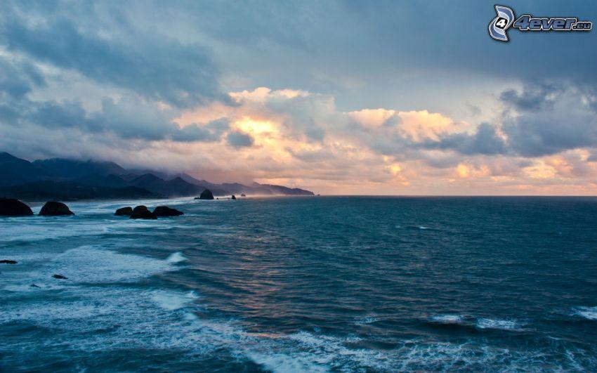 mar, costa, nubes
