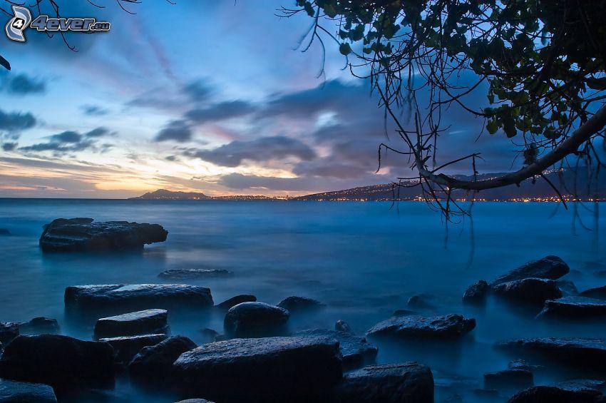 mar, costa, playa rocosa, nubes