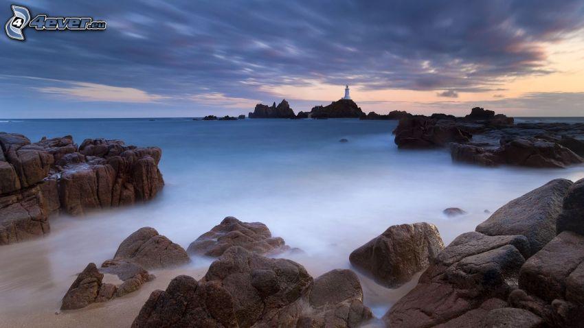 mar, costa de piedra, faro