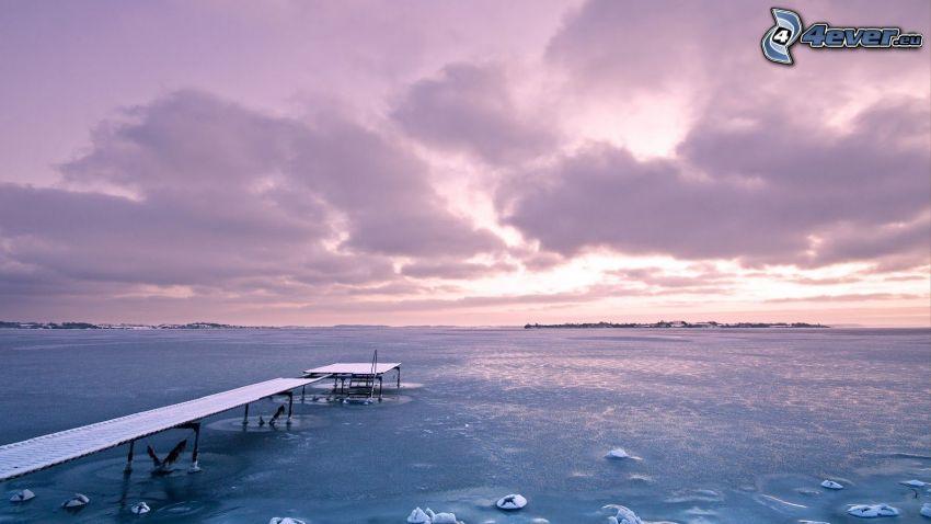 mar, muelle, cielo púrpura