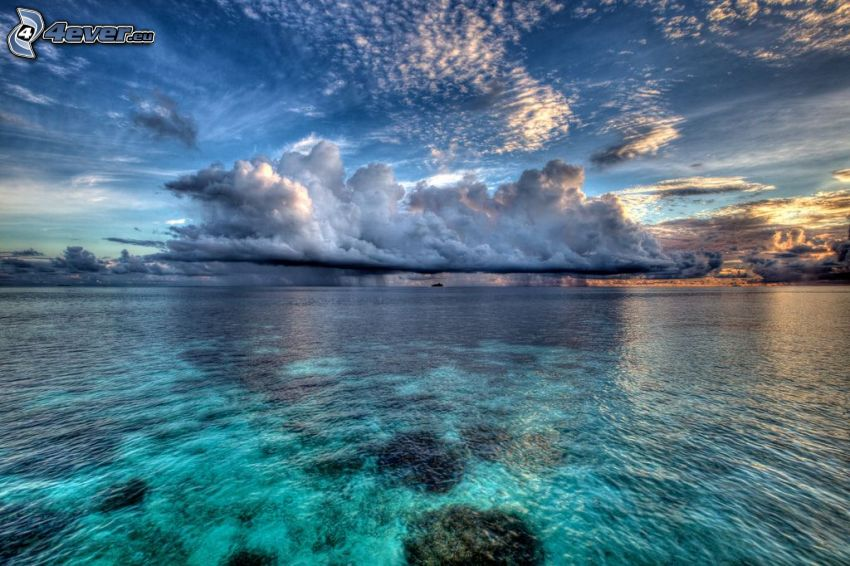 mar, nube, cielo