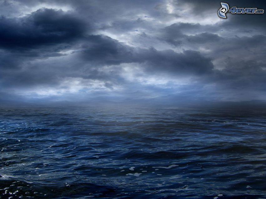 mar, nubes oscuras