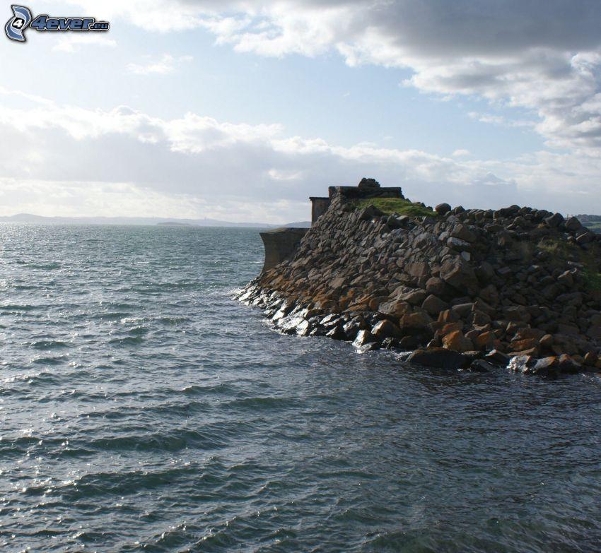 mar, piedras, muelle