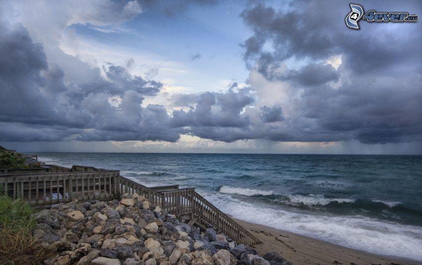 mar, playa, escalera, nubes