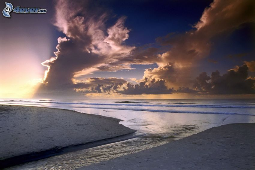 mar, playa, nubes