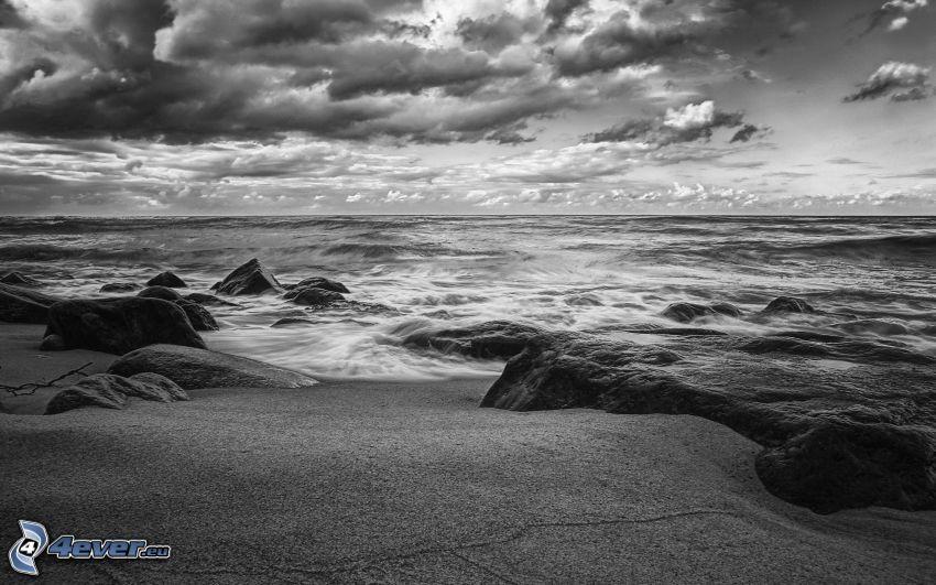 mar, playa rocosa, nubes, Foto en blanco y negro
