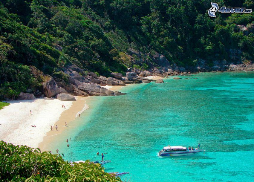 mar azul poco profundo, playa de arena
