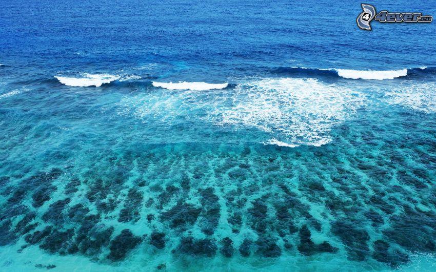 mar azul poco profundo