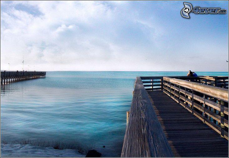 muelle de madera, mar