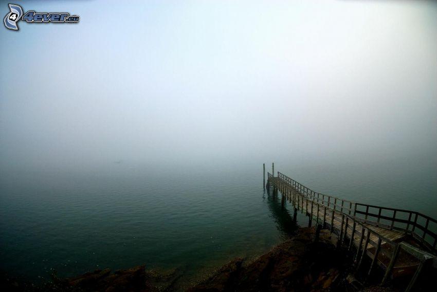 muelle de madera, niebla