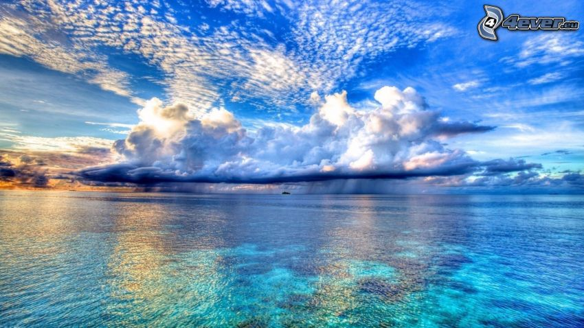 nubes, mar, lluvia, HDR