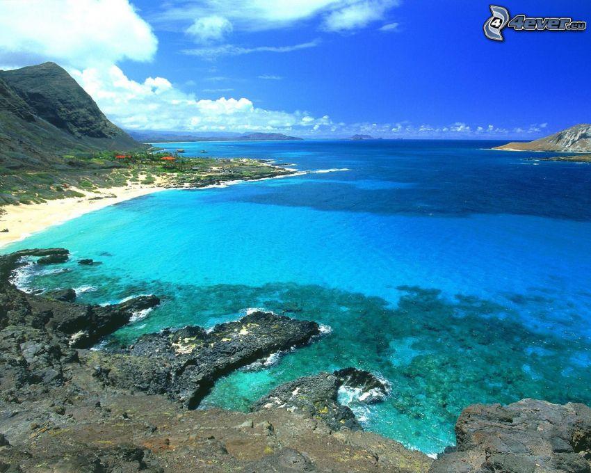 Oahu, Hawai, isla, mar