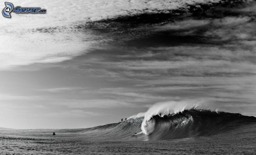 ola, mar, Foto en blanco y negro
