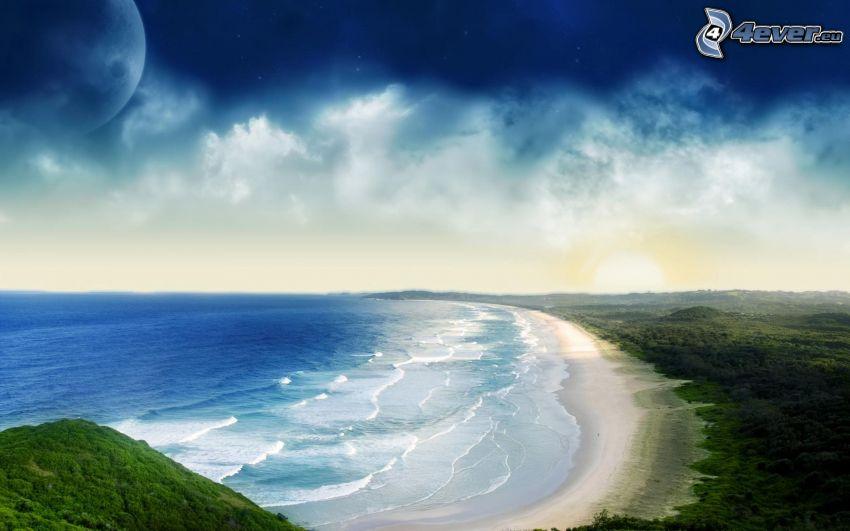 olas en la costa, vista al mar