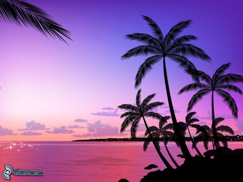 palmeras en la playa, cielo púrpura