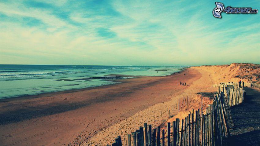 playa, cerco de madera, vista al mar