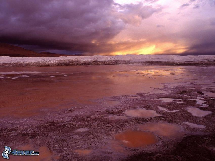 playa, mar, ola, cielo, nubes