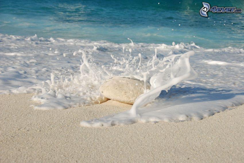playa, piedra, mar