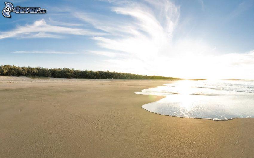 playa al atardecer, mar, cielo