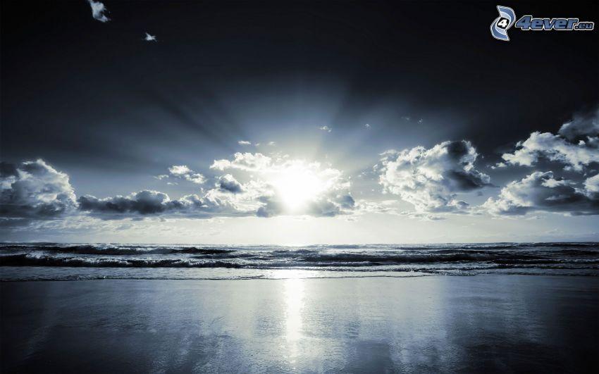 playa al atardecer, Puesta de Sol, olas en la costa, mar