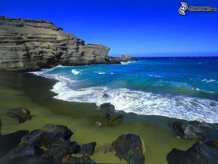 playa de arena, acantilados costeros