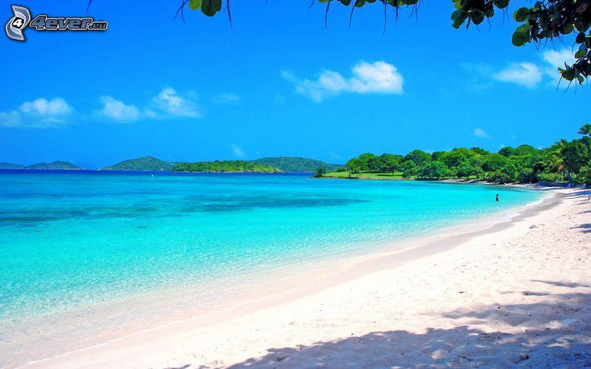 playa de arena, el mar azul