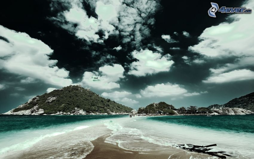 playa tropical, nubes
