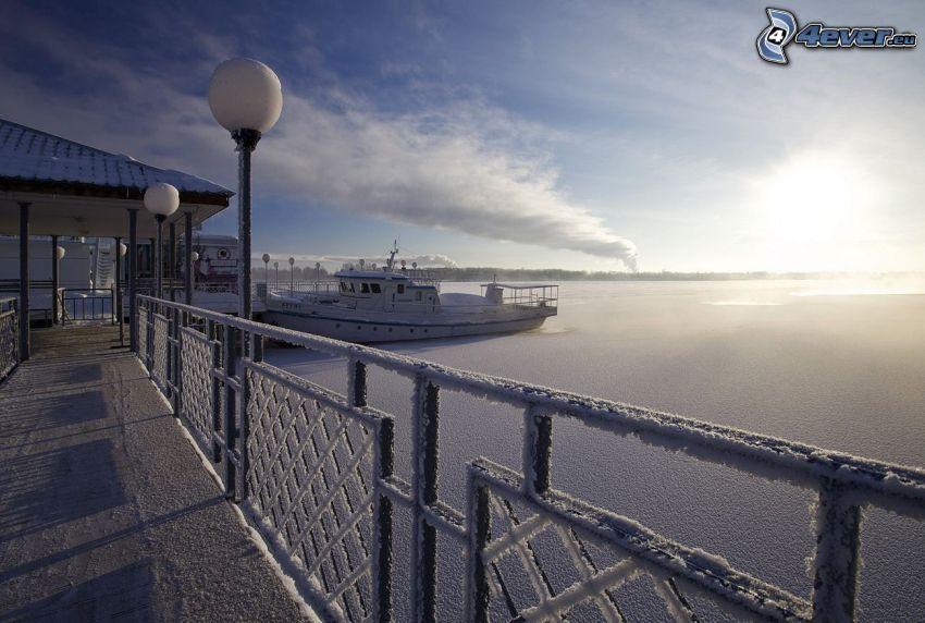 puerto, nave, mar, glaseado, cerca nevado