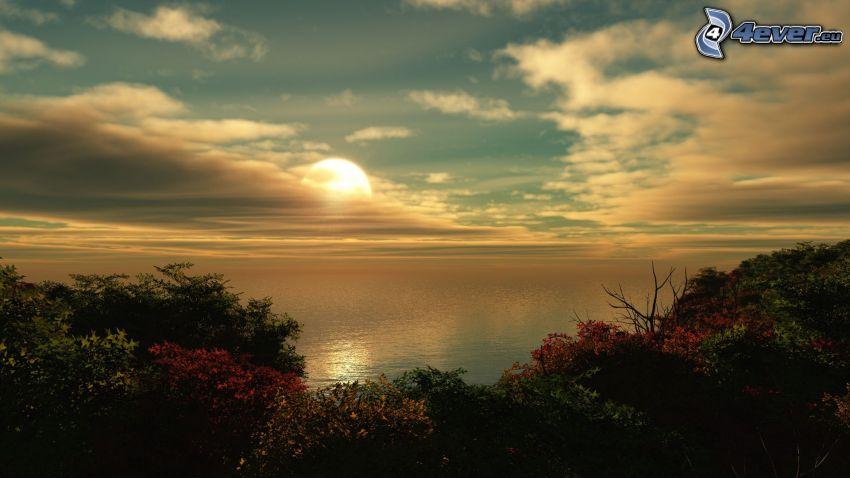 puesta de sol en el mar, árboles