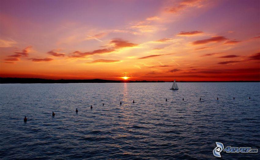 puesta de sol en el mar, barco