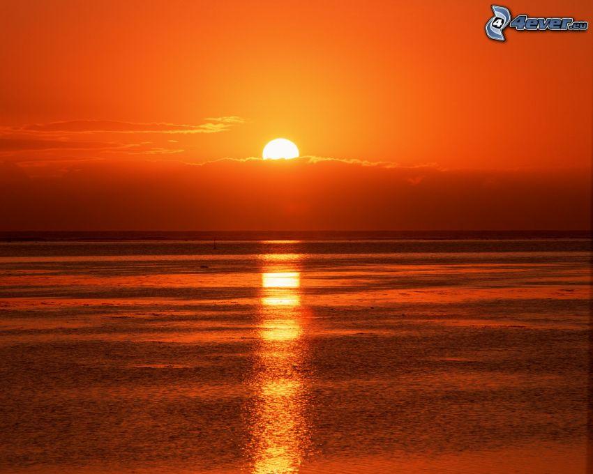 puesta de sol naranja sobre el mar, nube, mar, océano, Tahiti