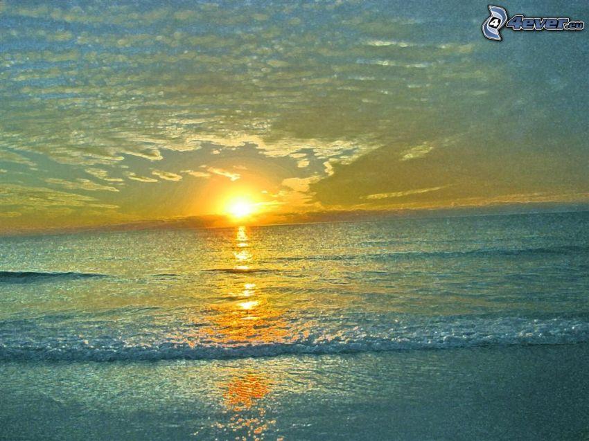 puesta de sol sobre el mar, Alta Mar