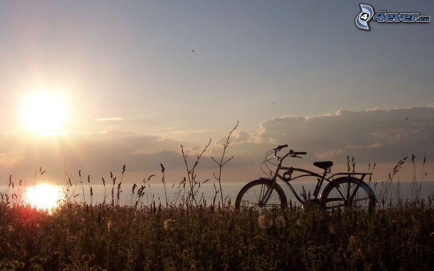 puesta de sol sobre el mar, bicicleta