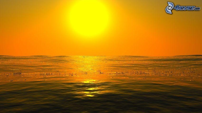 puesta de sol sobre el mar, cielo anaranjado