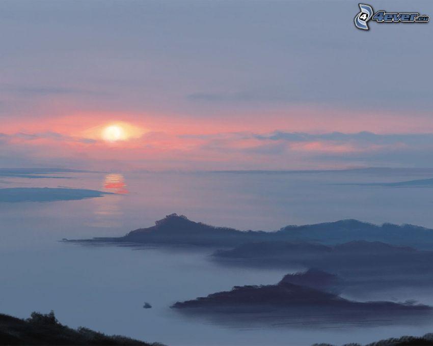 puesta de sol sobre el mar, islas