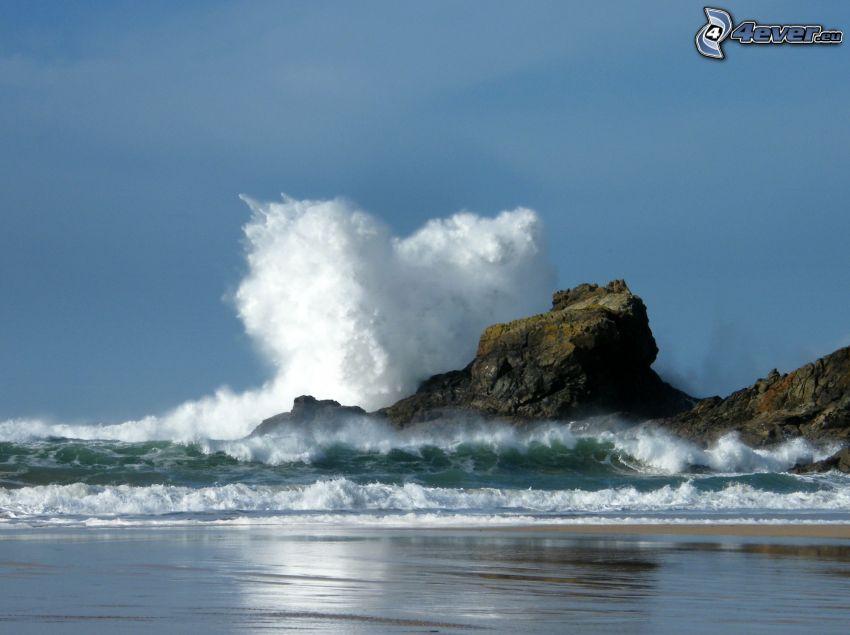 rocas en el mar, ola, corazón