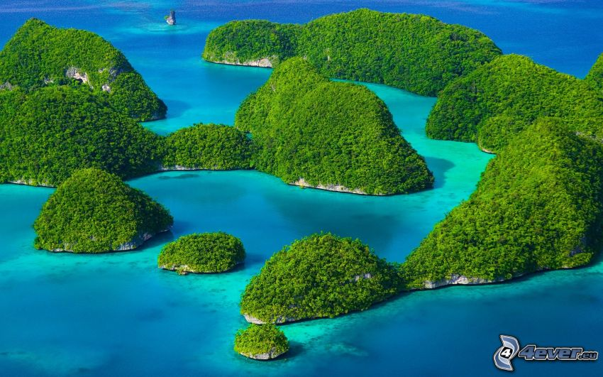 Rock Islands, islas, el mar azul