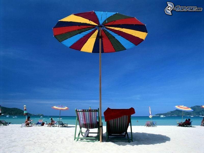 sombrilla en la playa, mar, vacaciones
