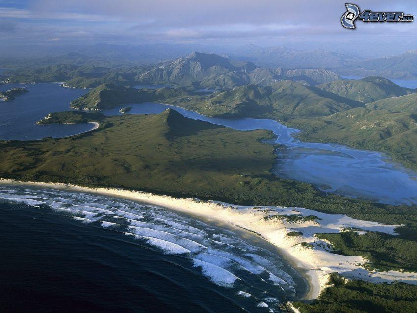 Tasmania, montañas, mar, costa