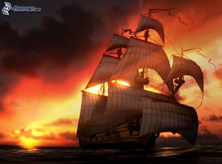 velero, mar, después de la puesta del sol
