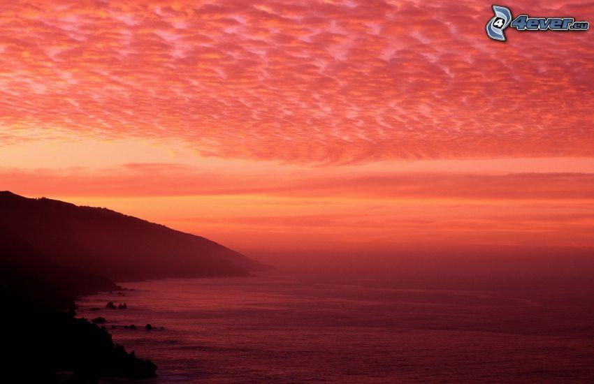 vista al mar, costa, cielo rojo