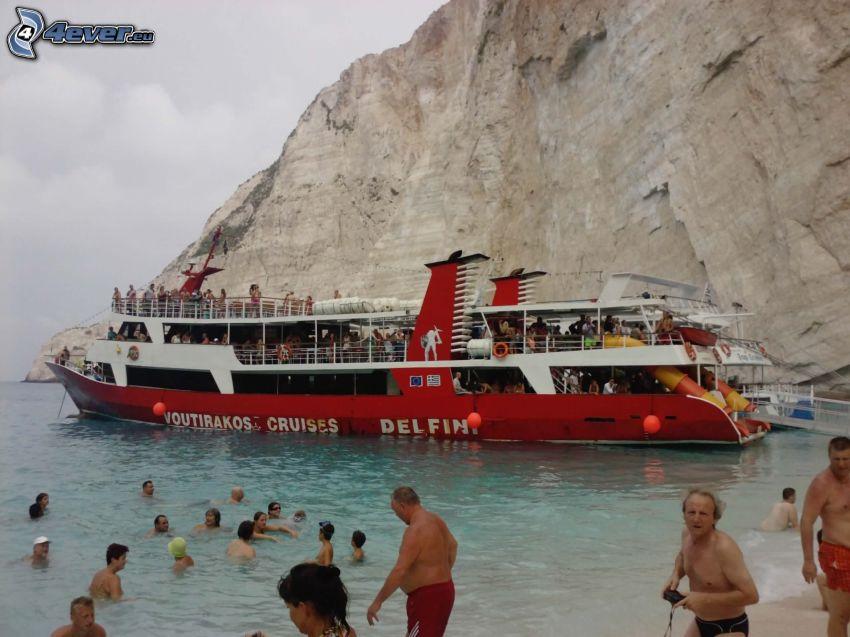 Zakyntos, barco turístico, arrecife, mar, personas, roca