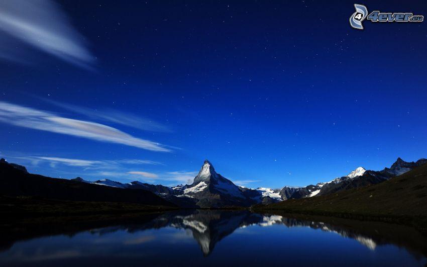 Matterhorn, Alpes, cielo, lago