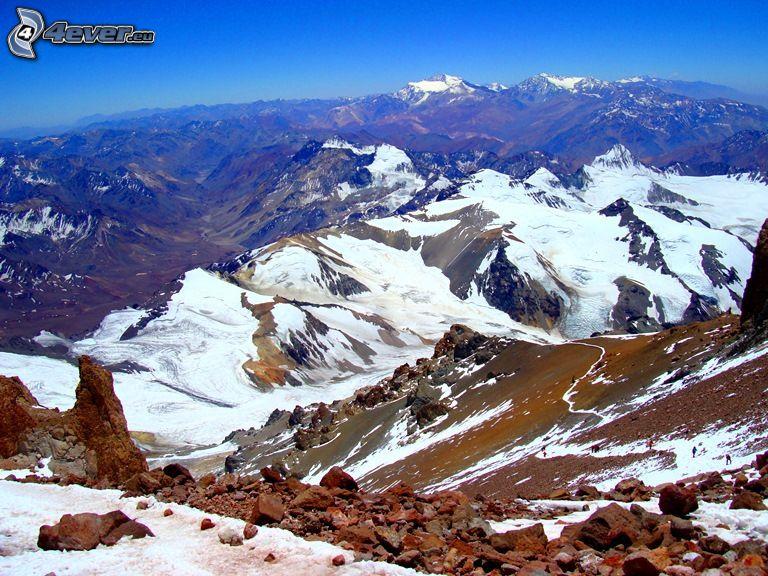 Aconcagua, montaña rocosa, montañas nevadas