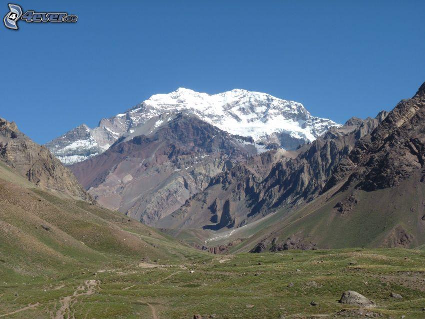 Aconcagua, montaña rocosa, valle