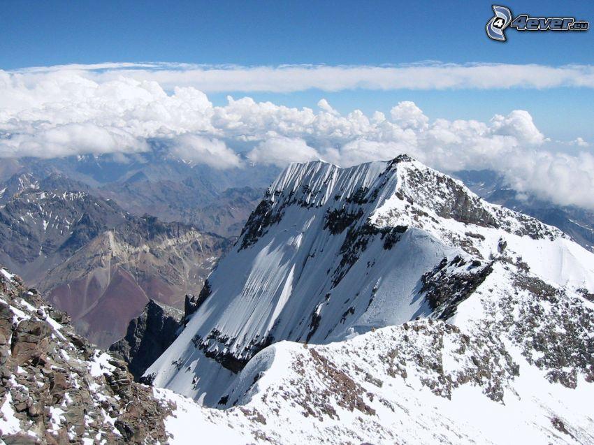 Aconcagua, montañas nevadas, montaña rocosa