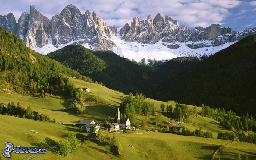 Alpes, montaña rocosa, bosque, prado
