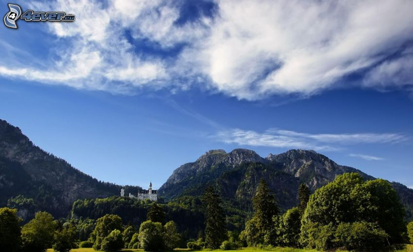 castillo de Neuschwanstein, Alemania, montaña rocosa, árboles